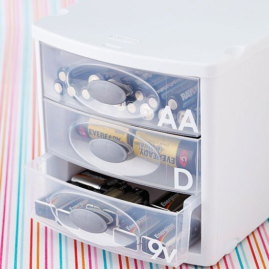 Stackable plastic drawers are a great way to manage household supplies such as light bulbs, vacuum cleaner bags, and batteries! http://www.bhg.com/decorating/storage/organization-basics/ways-to-reduce-clutter/?socsrc=bhgpin121114householdmusthaves&page=5