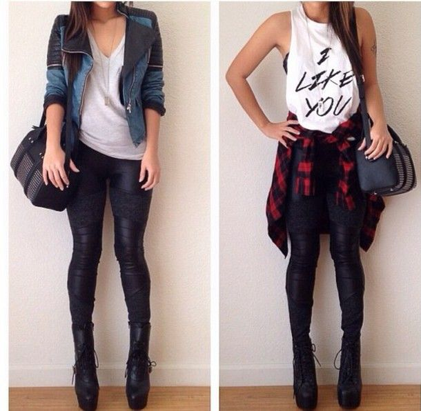 jacket black black leggings muscle tee tank top t-shirt basic tee fall outfits spring