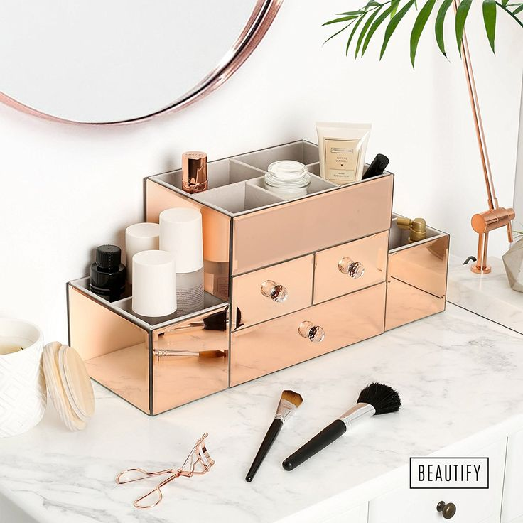 Beautify Rose Gold Mirrored Glass Jewellery Box & Makeup Organiser with 3 Drawers, 9 Storage Sections & Velvet Lining