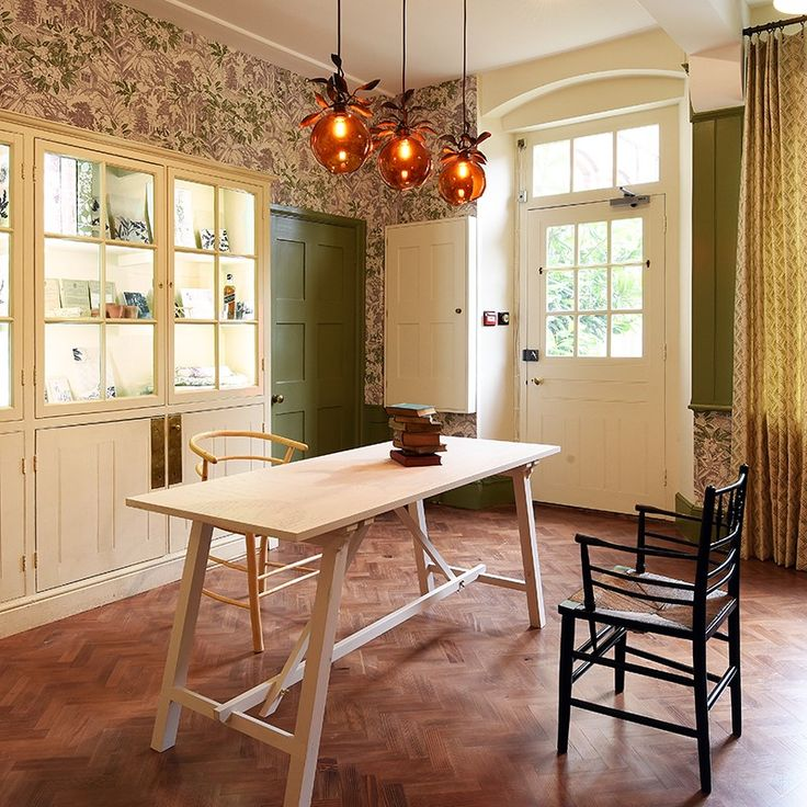 Rapture and Wright | Fabric | National Trust property Standen in sussex | Walcot House | Brushed Bronze 30mm pole | country kitchen | rustic style