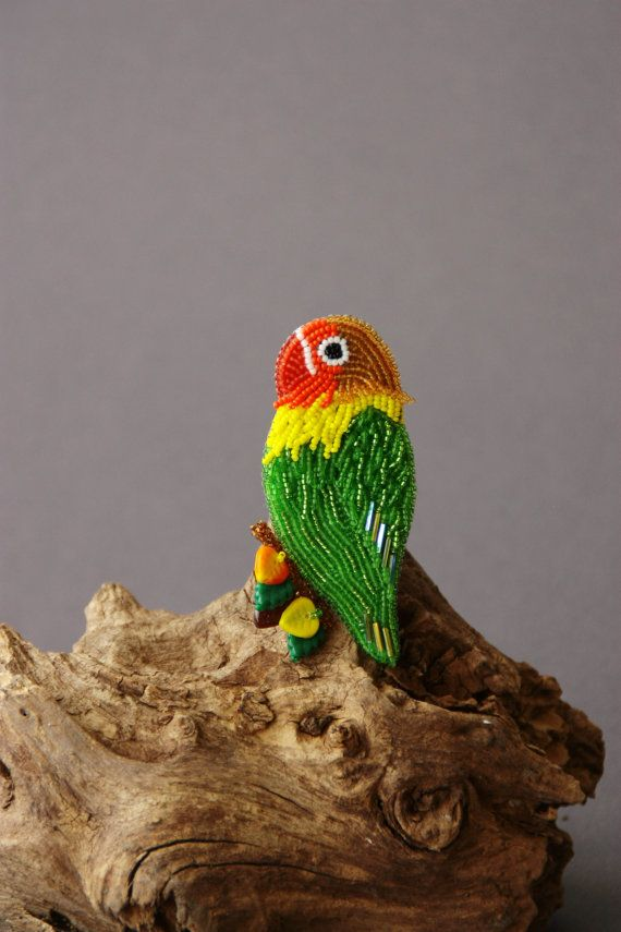 Brooch handmade beaded Beadwork Embroidery parrot Red Green Yellow Brooch with bird Beaded pin Embroidered brooch Beadwork Summer trends