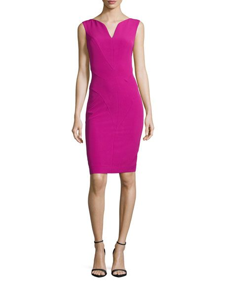 Shop Sleeveless Split V-Neck Sheath Dress, Fuchsia from Milly at Neiman  Marcus Last Call, where you'll save as much as on designer fashions.