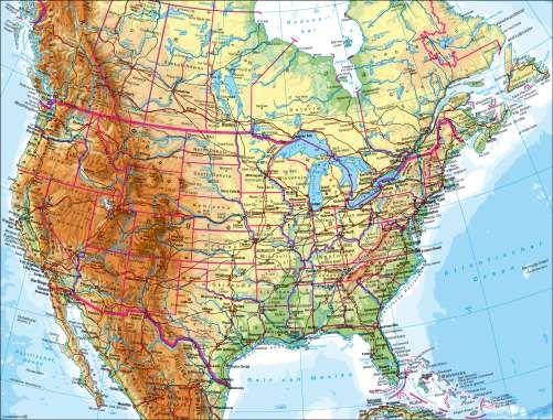 Nordamerika Physische Karte