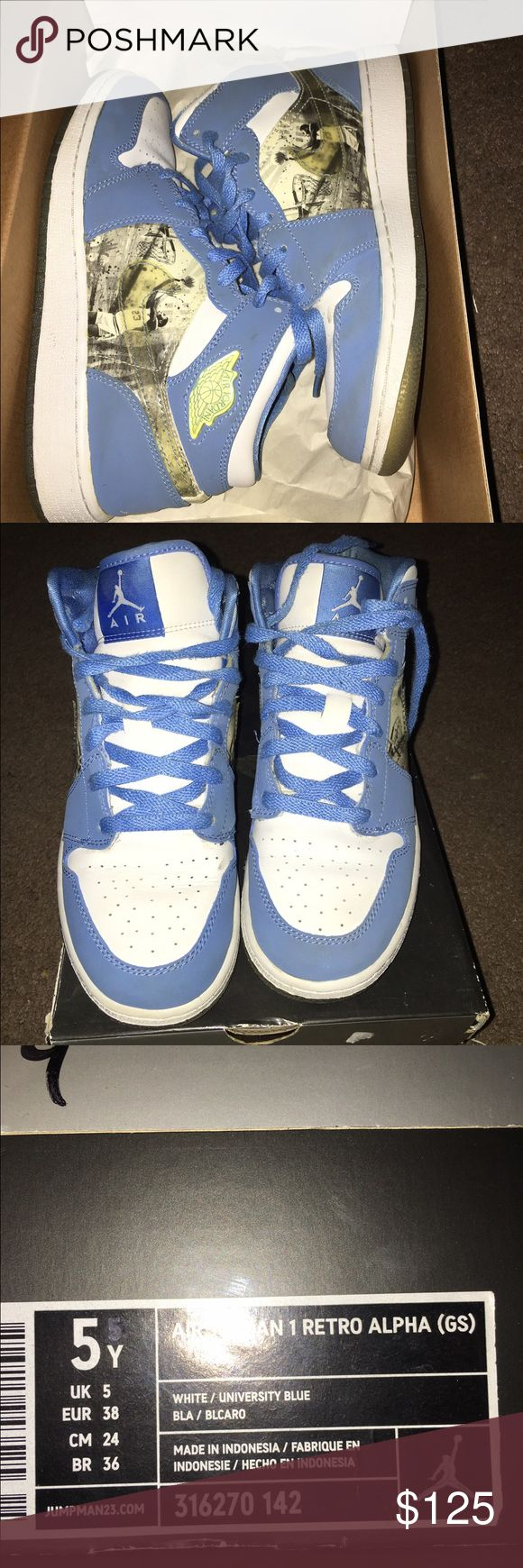 Air Jordan retro 1 Alpha 5.5y Air Jordan retro 1 Alpha 5.5y These shows are the definition of retro they where released in 2007 and they where the first edition to the Jordan line  They are used but still in great condition for them being 9 yrs old  Price is firm these are classic and OG box comes with it Jordan Shoes Athletic Shoes