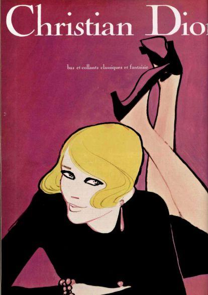 Illustrated ad. by René Gruau, 1967, Christian Dior bas et collants.