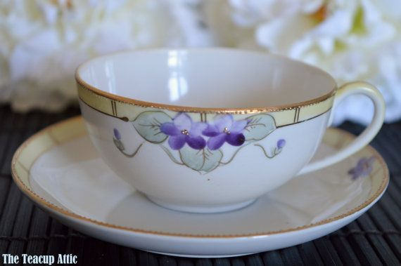 Nippon Hand Painted Teacup and Saucer Set with by TheTeacupAttic