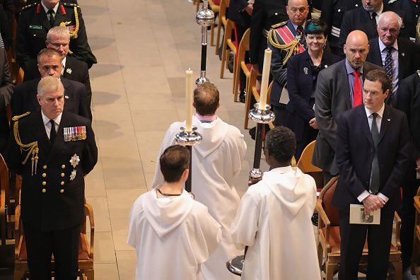 Chancellor of the Exchequer George Osborne MP and Prince Andrew Duke of York attend a commemoration service at Manchester Cathedral marking the 100th...