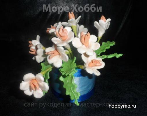Букет цветов из холодного фарфора. Детские поделки