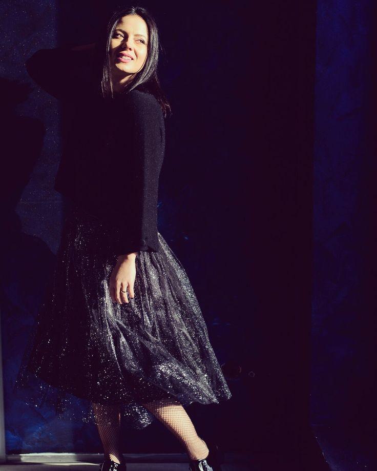 Sparkling winter tulle skirt