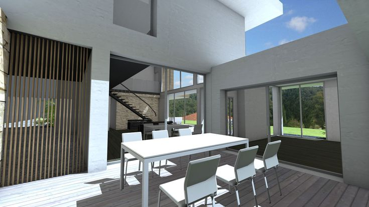 Patio central - Villa d'architecte à emboitement de cubes et bardages - Atelier d'architecture Scénario