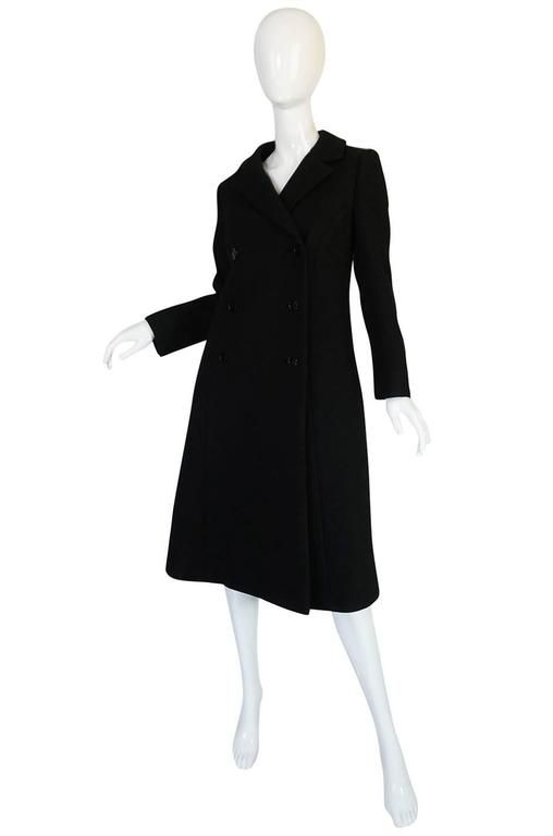 Givenchy  black Haute Couture | 1959 Documented Givenchy Haute Couture Black Wool Coat For Sale at ...