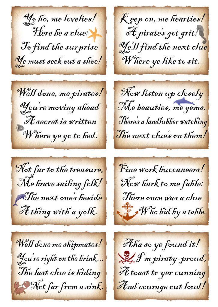 Printable Pirate Treasure Hunt Treasure hunt clues