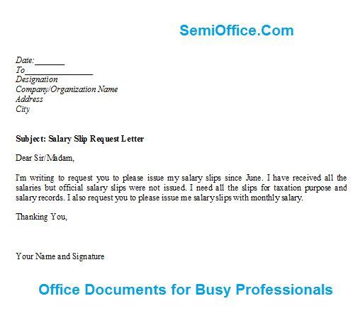 Salary Slip Request Letter Format | SemiOffice.Com - letter of salary