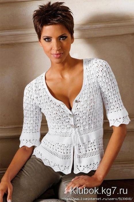 Dames élégantes veste / tricotés deux aiguilles / MAIN AVEC DU COTON : Pulls, gilets par marianageleva
