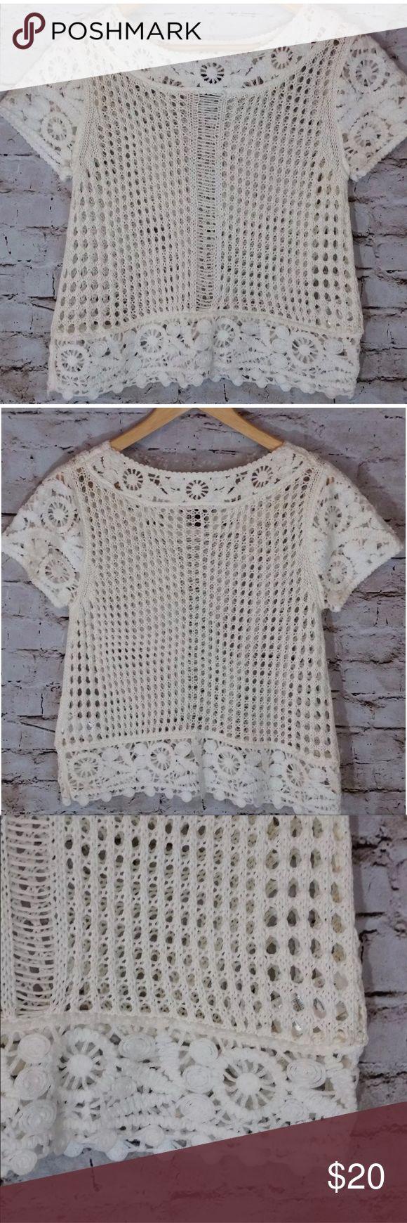 "H & M Short Sleeve Crochet Top H&M Cream Crochet Short Sleeve Top Shirt   Excellent Mint Condition  Size Small - measured lying flat  Bust - 19"" Shoulder seam to seam - 16"" Length - 21 1/4""  Condition - Excellent with no flaws. H&M Tops Tees - Short Sleeve"