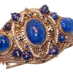 Store Wide SALE Rare Austro-Hungarian Silver Renaissance Bracelet with Lapis and Pearls