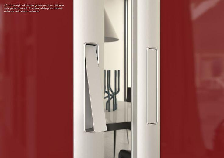 La maniglia ad incasso grande con leva, utilizzata sulle porte scorrevoli, è la stessa delle porte battenti, collocate nello stesso ambiente. By ZEMMA