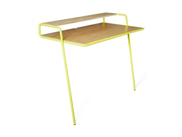 Beautiful bureau mural bois et mtal ashburn couleur jaune for Table rabattable murale conforama