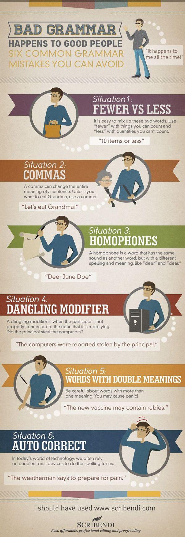 Bad Grammar Happens to Good People   #infographic #Grammar #English