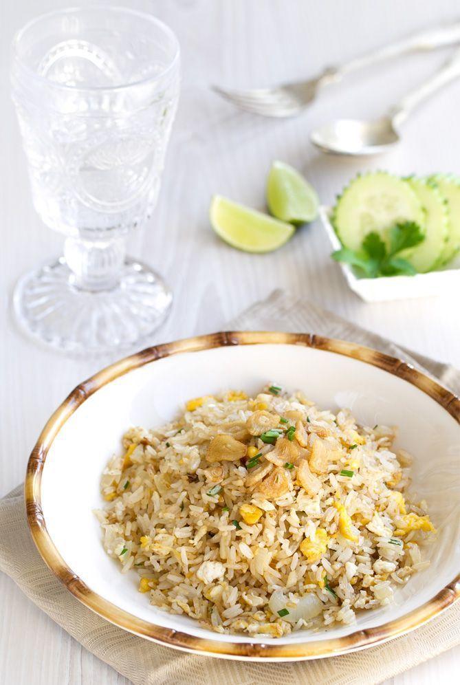 ^^ arroz frito, Arroz frito con ajo, arroz frito thai, comida tailandesa