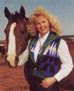 Miss Rodeo America 1990 Joni James models clothing by Tener's Western Outfitters of Oklahoma City, Oklahoma.