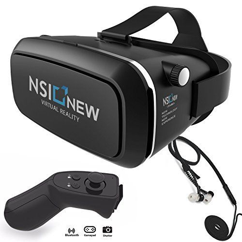NSInew 3D Virtual Reality Headset or HD VR Goggles for 100% Immersive VR Experience. These are New 3D VR Gaming Glasses with Magnetic Front Cover, Adjustable Strap, BONUS Bluetooth Remote & Headphones