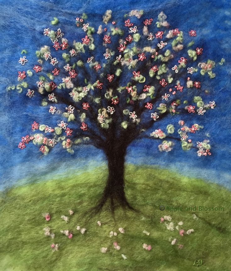 'Blossoming Spring' - Embroidered Painting With Wool created by Mary Spence 2015 at Apple and Blossom https://www.facebook.com/220736741410646/photos/a.225423937608593.1073741830.220736741410646/473582716126046/?type=1&theater