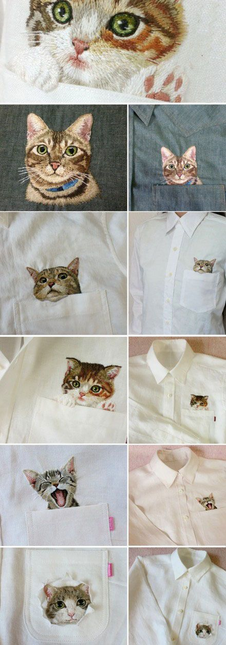 Cute cat, do you think it is very realistic, but this is just a embroidery. Do you want it on your shirt?  #cat, #pet, #DIY, #shirt, #dress, #fashion, #embroidery