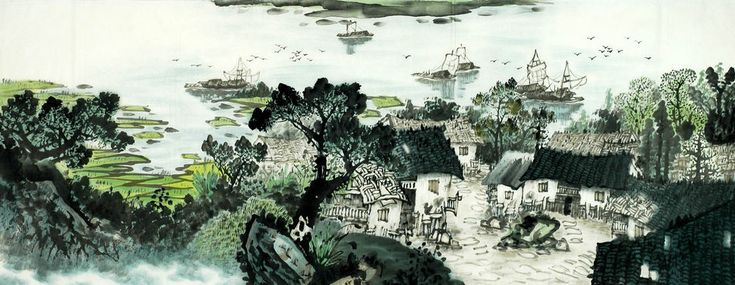 Een klein dorpje - Chinees schilderij - Artisoo