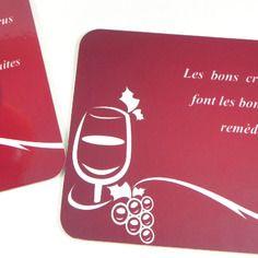 Cadeau insolite alcool Homme Dessous de verre original sous-verre sous-bock vin les bons crus font les bons remèdes
