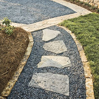 Mix stone, gravel, and loose pavers to create interesting patterns and textures on outdoor walkways.