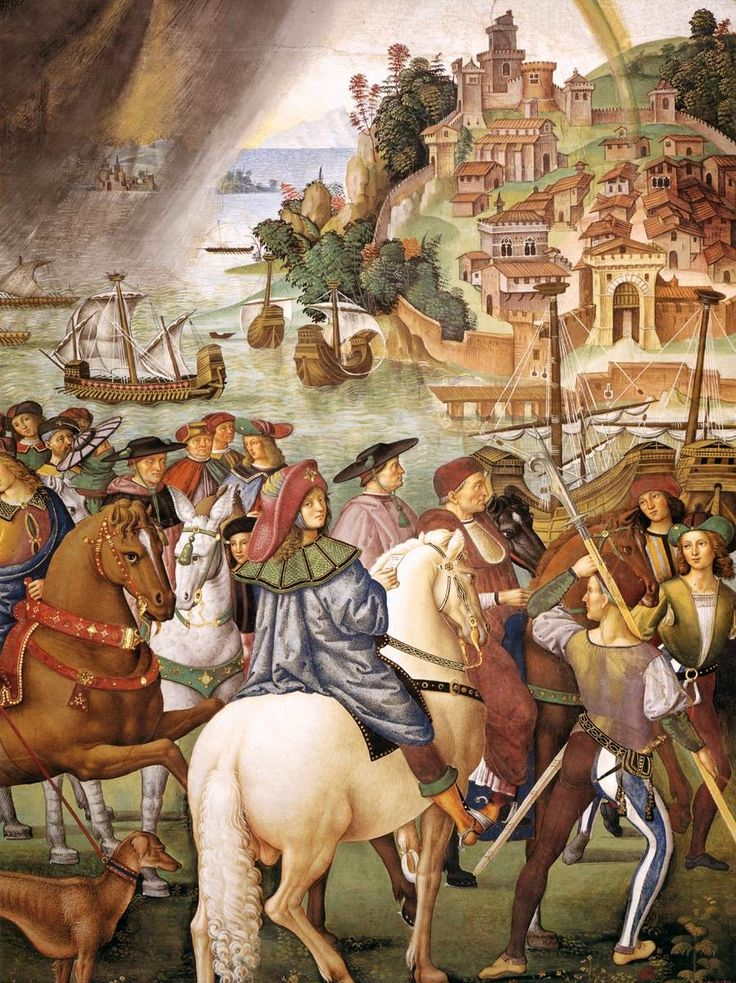 PINTURICCHIO, Italian Early Renaissance (ca.1454-1513)_No. 1- Enea Piccolomini Leaves for the Council of Basel 1502-08detail [Enea Silvio Wearing a splendid traveling cloak, a fur collar, and a pilgrim's hat, the young man sits on a white horse - an obvious allusion to his future stature, for white horses were reserved for popes.]