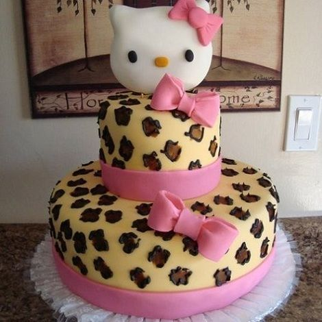torta-hello-kitty-leopardo  - Torta de Hello Kitty