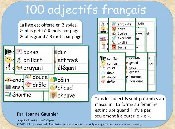 "This file contains 94 illustrated French adjectives in a word wall format. The adjectives range from basic ones, such as bon, mauvais, grand, belle to slightly less common ones such as rugueux et malodorant.  2 versions of the word wall are included, one in smaller font with 6 words per page and one with larger font at 3 words per page. All adjectives in this word wall are presented in their masculine form. The feminine form is also included when it requires more than just adding an ""e"""
