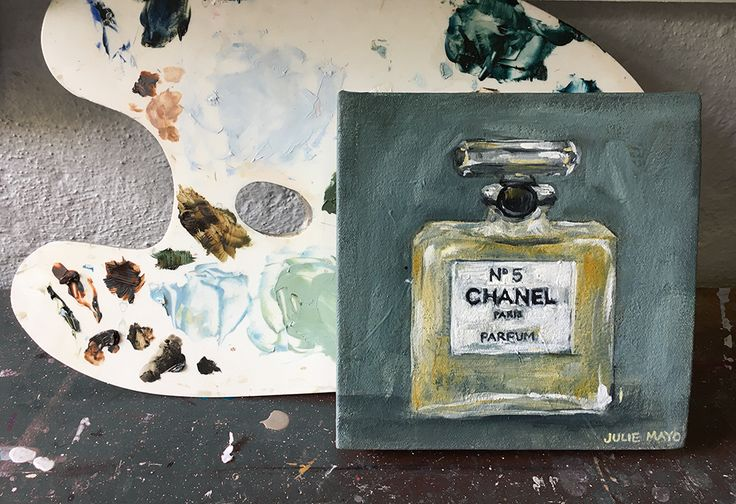 Chanel no. 5 perfume, Small Oil painting, Julie Mayo Artist