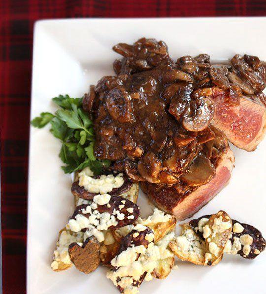 Recipe:  Steak With Drunken Mushrooms & Roasted Blue Cheese Potatoes