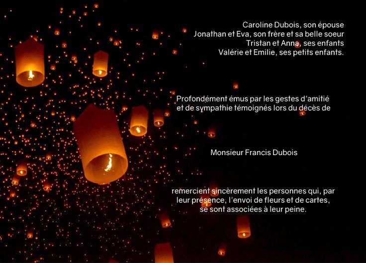 Carte décès - thème symboles - Nous étions comme ces bougies - lanternes #cartesremerciementsdécès #personnalisation