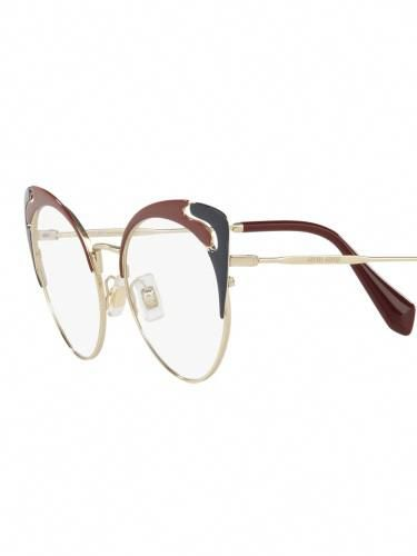 5d5c98f02ac Miu Miu VMU 50R HB5-1O1 Black Pale Gold Garnet (Red) Blue Eyeglasses 52mm   MiuMiu
