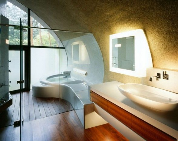 Futuristic Home Design With Natural Environment In Japan   Bathroom