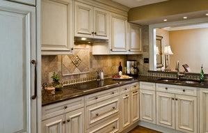 white cabinet / dark granite