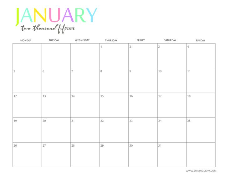Free 2015 Printable Calendar by ShiningMom.com: Fun and Colorful!