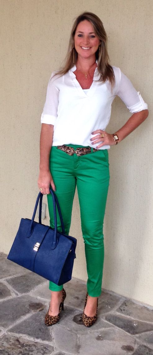 Look de trabalho - Look do dia - calça verde - green pants - animal print - leopard shoes