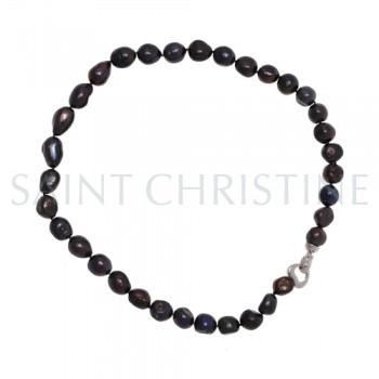 long collier en perles de culture d'eau douce noires