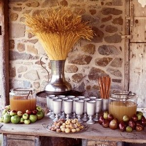 Hot apple cider bar...need we say more?!?   Beverage table for a fall or winter wedding.