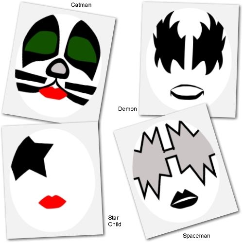 Kiss face makeup templates holidays halloween costumes for Kiss mask template