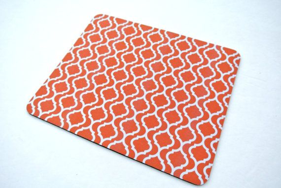 Orange Moroccan Print Mouse Pad  Modern by yourethatgirldesigns, $9.99