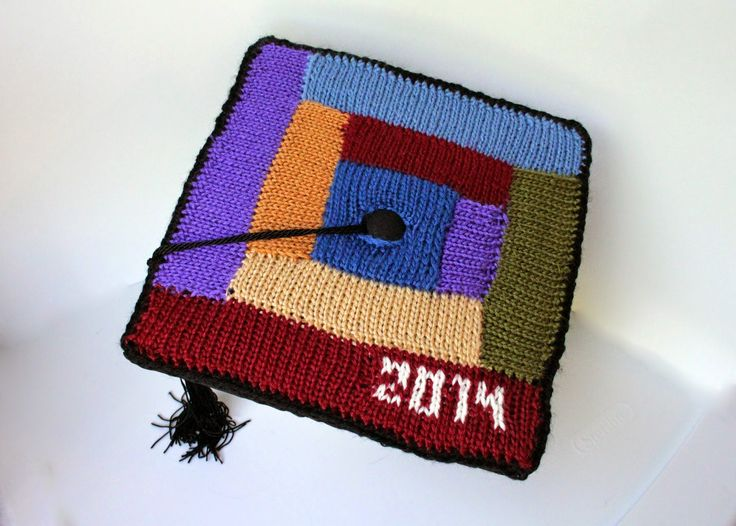 The Fuzzy Square: Log Cabin Knitted DIY Graduation Cap Decoration