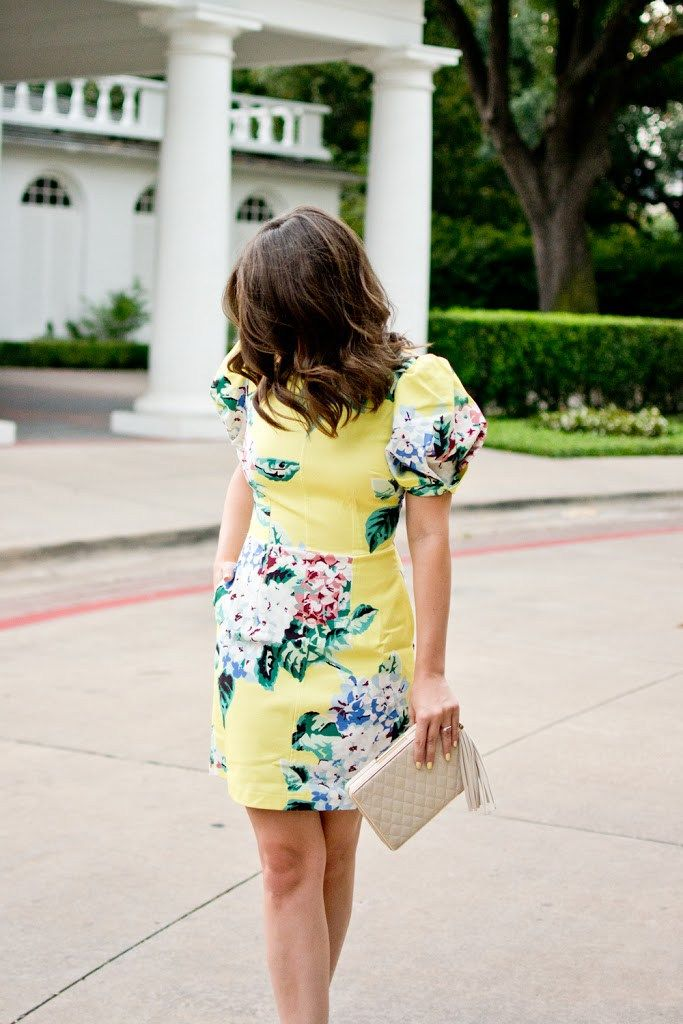 summer wedding guest outfit idea asos puff sleeve floral dress