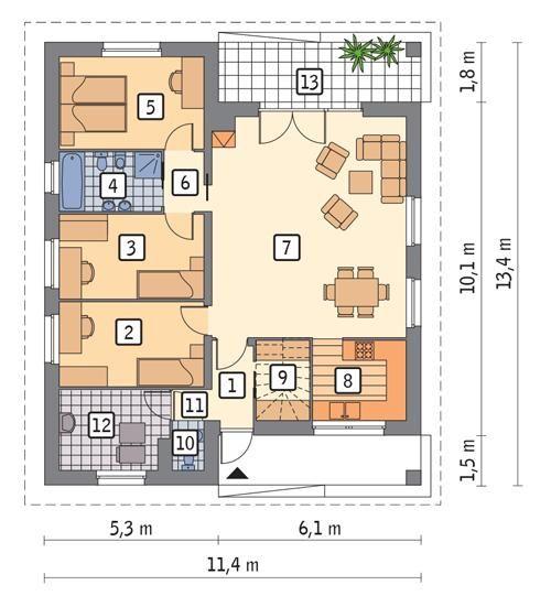 Rzut parteru POW. 104,0 m²