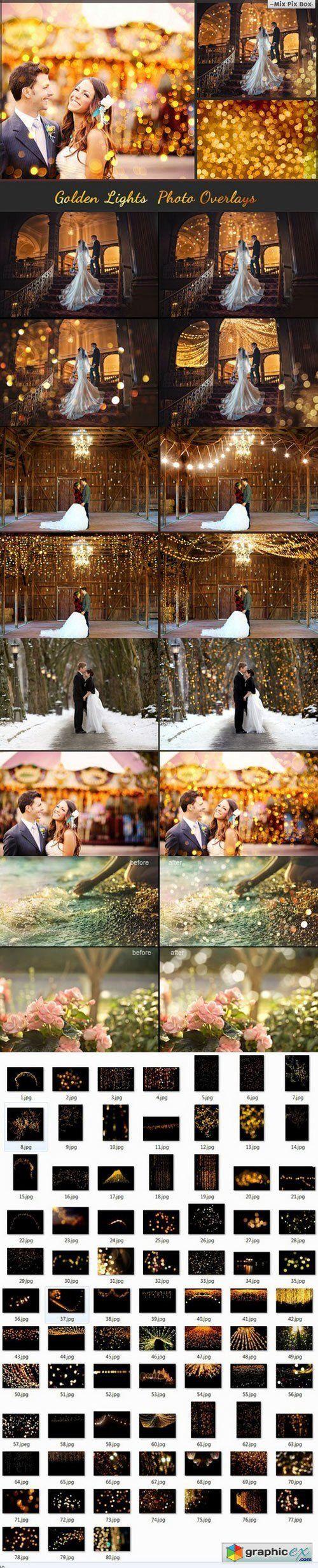 80 Golden lights Photo Overlays
